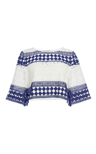 Medium philosophy di lorenzo serafini blue striped cotton macrame cropped top