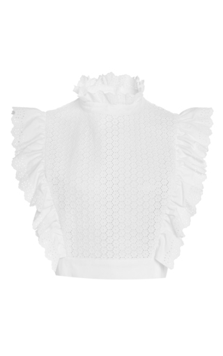 Medium philosophy di lorenzo serafini white white embroidered poplin cropped top