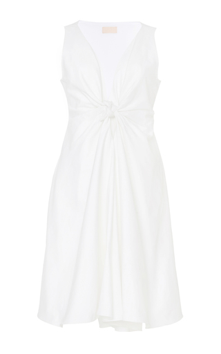 Medium brock white cotton knot front dallas dress
