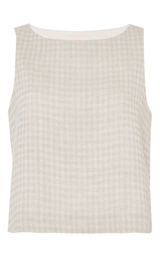 Medium brock khaki linen gingham twill bally blouse