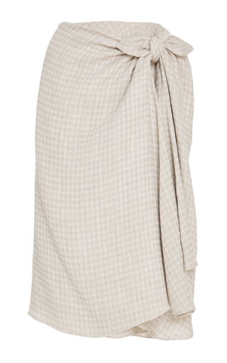 Medium brock khaki gingham twill sienna skirt