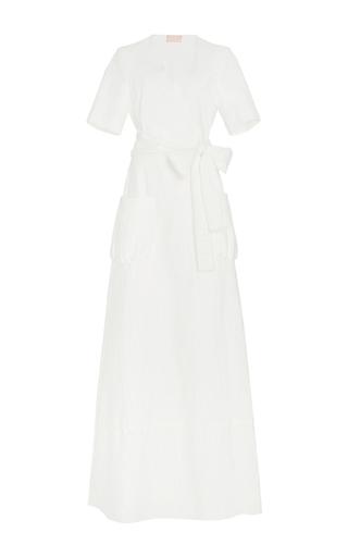 Medium brock white daria cotton eyelet wrap maxi dress