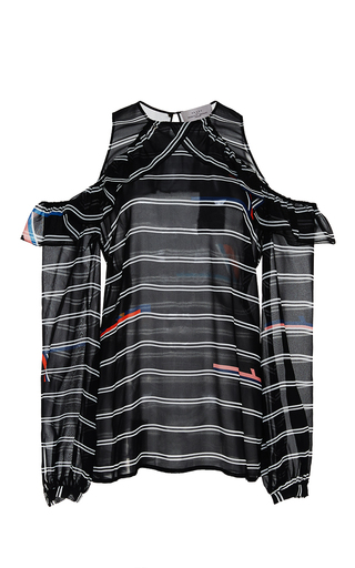 Striped Silk Georgette Maira Blouse With Cutout Shoulders by PREEN BY THORNTON BREGAZZI Now Available on Moda Operandi