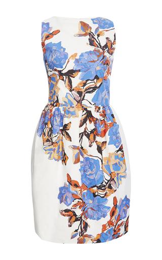 Medium monique lhuillier white painted rose sleeveless tulip dress