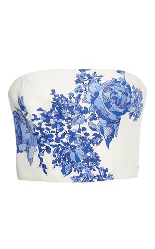 Medium monique lhuillier blue rose print gazar bodice