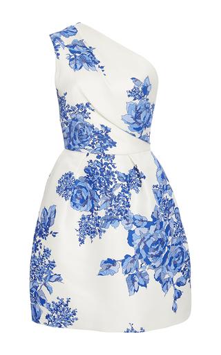 Medium monique lhuillier blue rose print gazar one shoulder dress