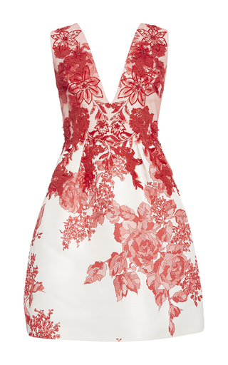 Medium monique lhuillier red embroidered rose print deep v dress