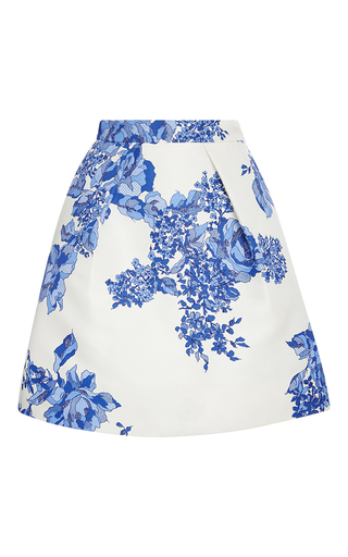 Medium monique lhuillier blue rose print full pleated skirt