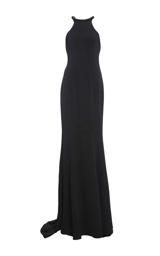 Medium monique lhuillier black embroidered neck crepe gown