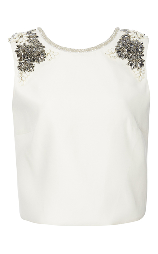 Medium monique lhuillier white embroidered shoulders silk top