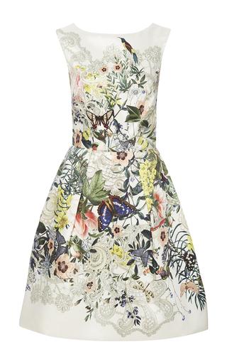 Medium monique lhuillier white botanical print dress with v back