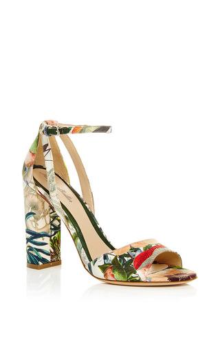 Medium monique lhuillier coral botanical satin ava high heel sandal