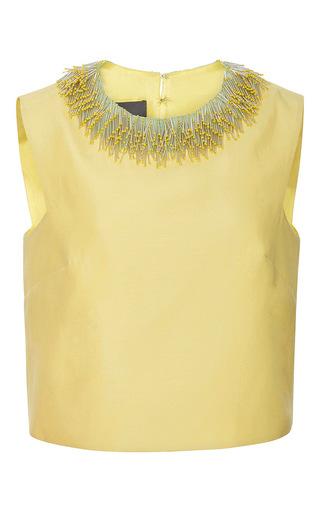 Medium monique lhuillier yellow structured silk top