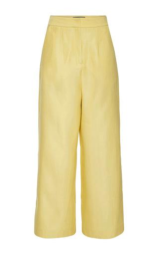 Medium monique lhuillier yellow double face silk wide leg pant