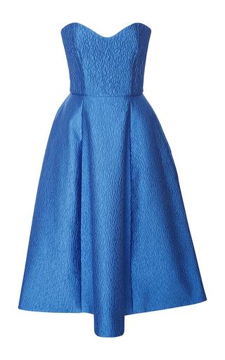 Medium monique lhuillier blue strapless silk cloque tea dress
