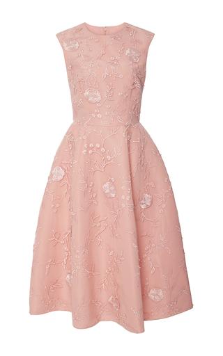 Medium monique lhuillier pink floral embroidered tea dress