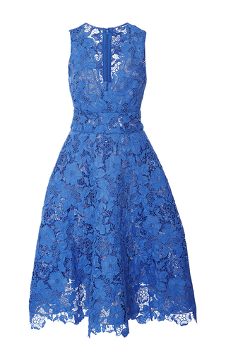 Medium monique lhuillier blue guipure lace tea dress