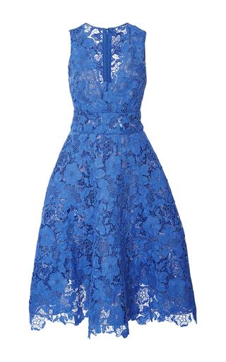 Medium monique lhuillier blue guipure lace tea dress