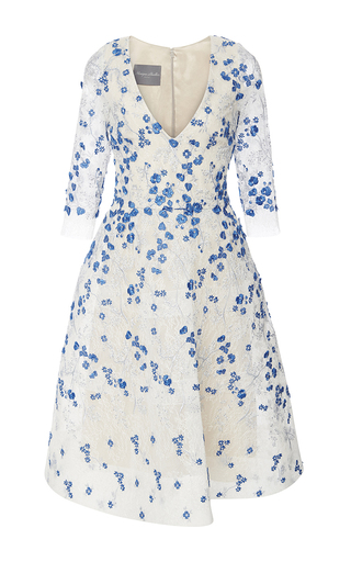 Medium monique lhuillier blue embellished chantilly lace dress