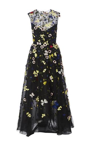 Medium monique lhuillier black embroidered illusion gown