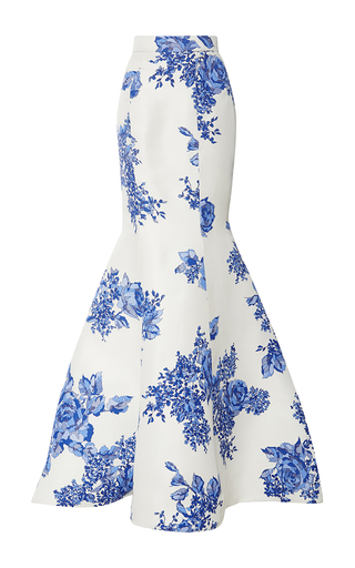 Medium monique lhuillier blue rose print trumpet skirt