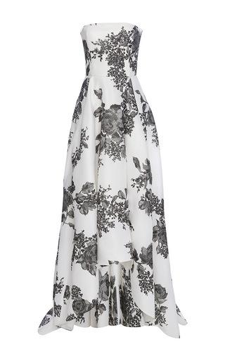 Medium monique lhuillier black rose print strapless gown