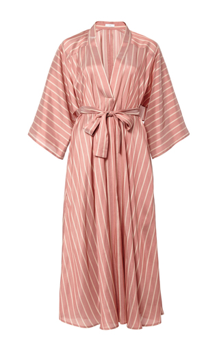 Medium tome stripe silk stripe v neck shirtdress