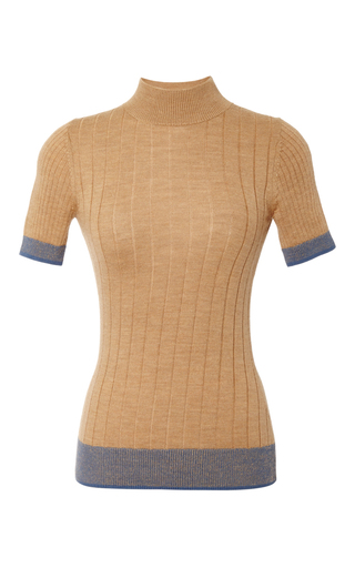 Medium tome tan merino wool short sleeve turtleneck