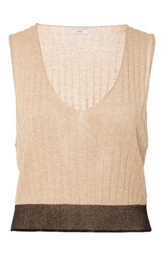 Medium tome brown camel merino sleeveless v neck sweater