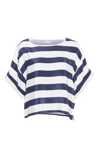 Medium tome stripe striped crepe de chine cropped t shirt