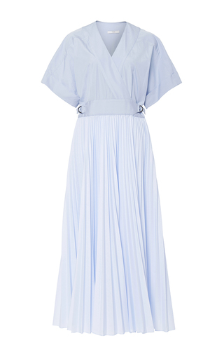 Medium tome light blue cotton poplin belted wrap dress with pleating