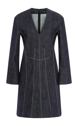 Cotton A Line Dress With Contrast Stitching by DEREK LAM Now Available on Moda Operandi