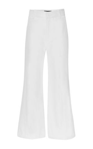 White Wide Legged Denim Trousers by DEREK LAM Now Available on Moda Operandi