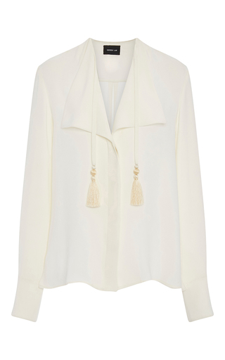 Medium derek lam white silk blouse with tassels