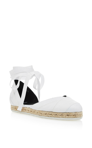 White Leather And Fabric Bauhaus Beach Espadrilles by PIERRE HARDY Now Available on Moda Operandi
