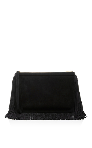 Black Suede Alpha Fringed Clutch by PIERRE HARDY Now Available on Moda Operandi