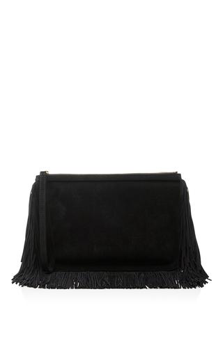 Medium pierre hardy black black suede alpha fringed clutch