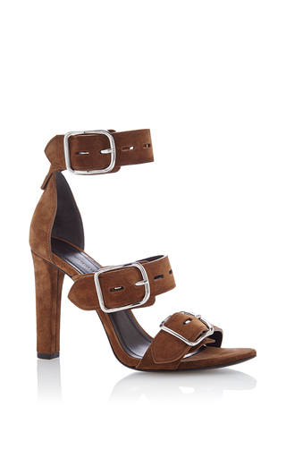 Medium alexander wang brown bridget high heel sandal in dark truffle suede