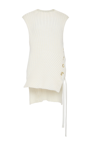 Medium derek lam 10 crosby white cotton blend ribbed sweater with side grommet detail