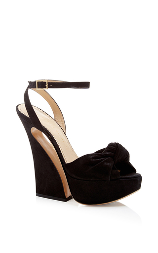 Vreeland Black Suede Platform Sandals  by CHARLOTTE OLYMPIA Now Available on Moda Operandi