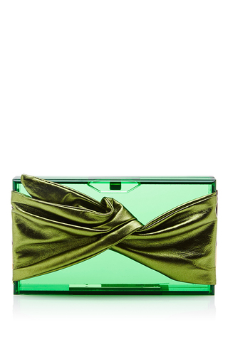 Medium charlotte olympia green perspex pandora clutch with leather wrap