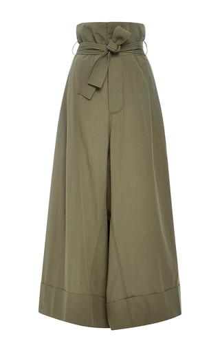 Medium adam lippes olive cotton wide leg gaucho pant