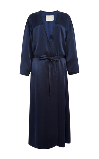 Medium adam lippes navy charmeuse drawstring robe dress
