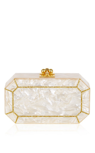 Medium edie parker nude fiona faceted octagon box clutch
