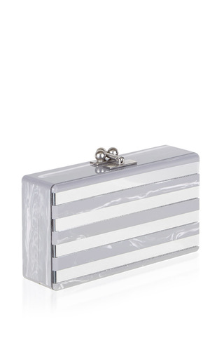 Medium edie parker stripe jean clutch in gray flannel stripe clear mirror