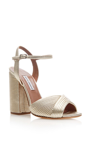 Champagne Pleated Leather Kali Platform Sandals by TABITHA SIMMONS Now Available on Moda Operandi