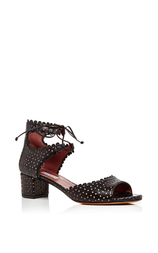 Tallulah Black Leather Perforated City Sandals  by TABITHA SIMMONS Now Available on Moda Operandi