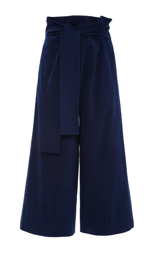 Navy Luxe Brushed Cotton Twill Pants by TIBI Now Available on Moda Operandi