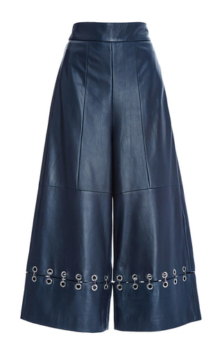 Medium tibi navy navy leather high waist pant with metal rings