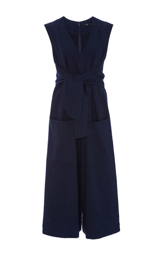 Medium tibi blue delave cotton tie front jumpsuit